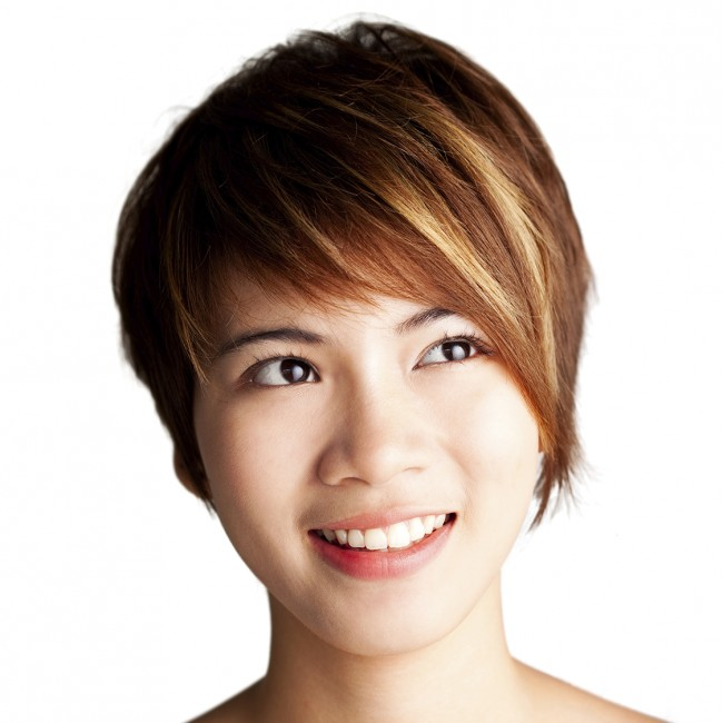 Women's Short Hair Style, Colored, Highlight
